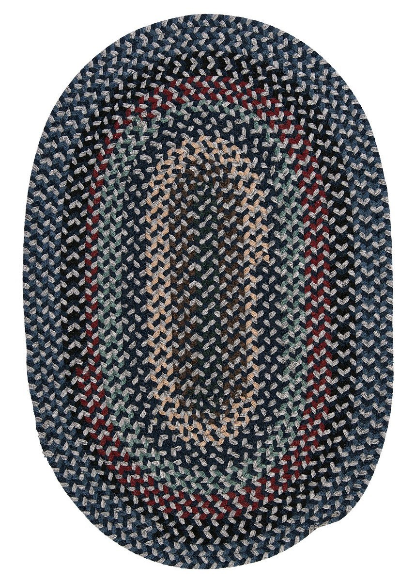 Boston Common Winter Blues Outdoor Braided Oval Rugs