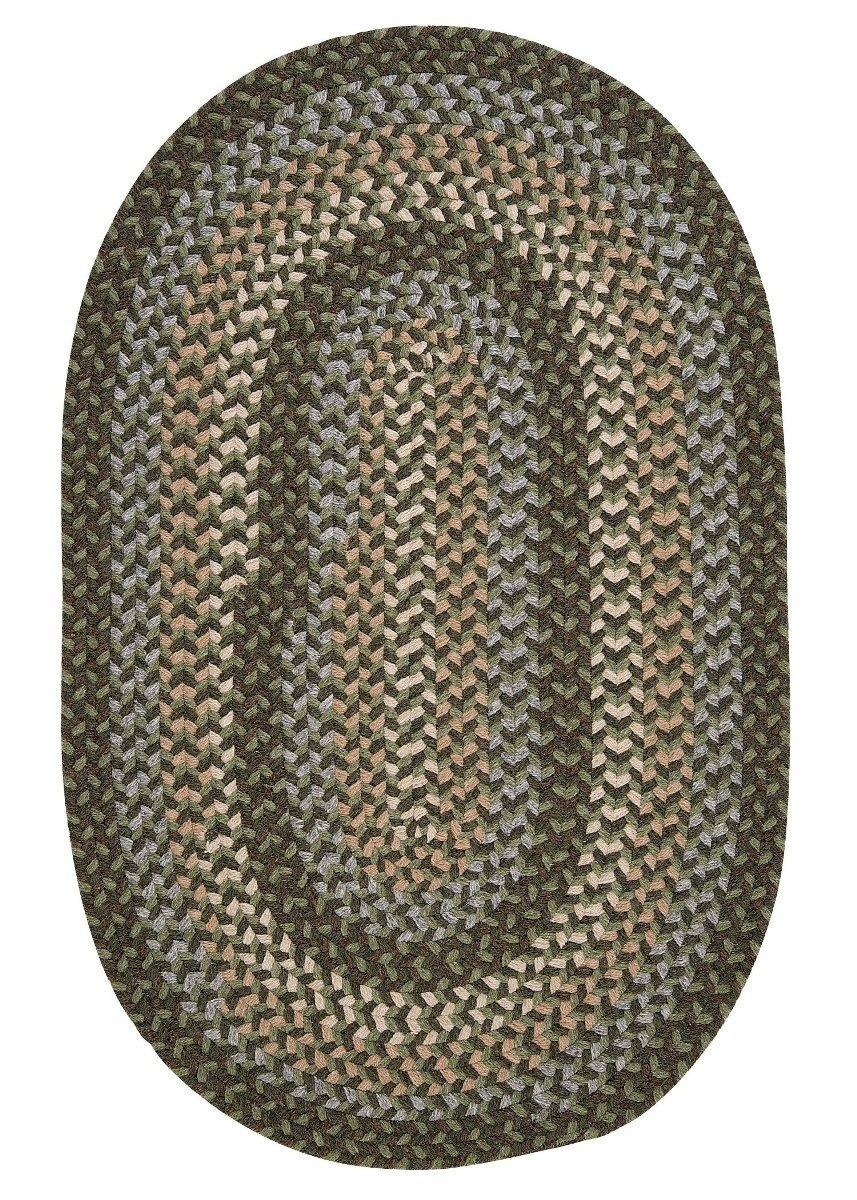 Boston Common Moss Green Outdoor Braided Oval Rugs