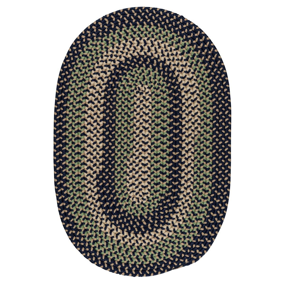 Brook Farm Bluestone Outdoor Braided Oval Rugs