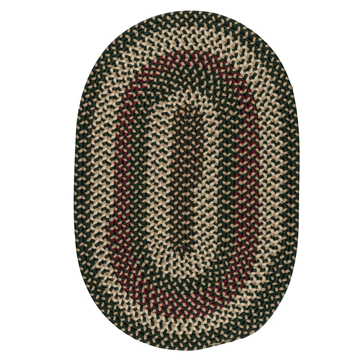 Brook Farm Winter Green Outdoor Braided Oval Rugs