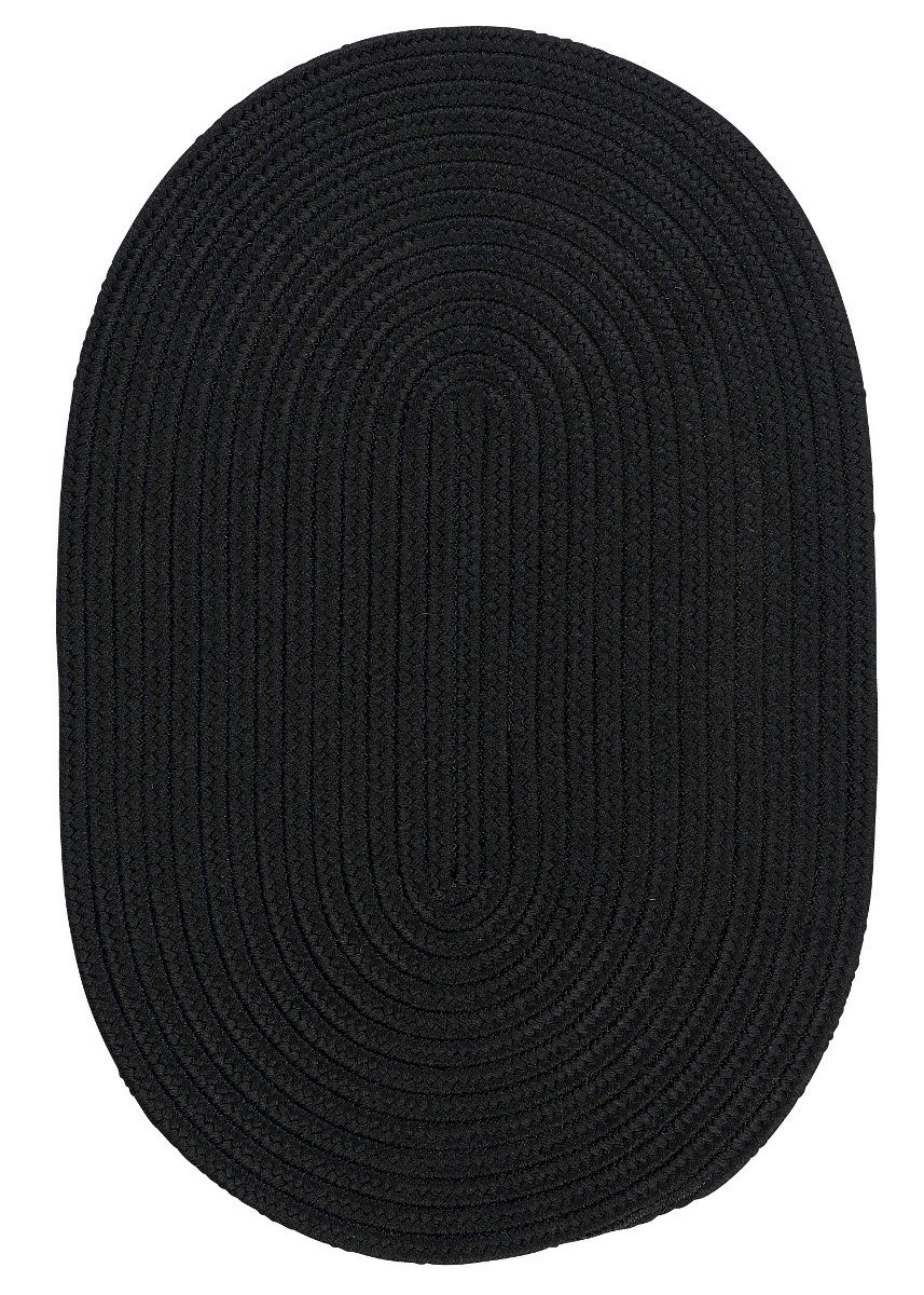 Boca Raton Black Outdoor Braided Oval Rugs