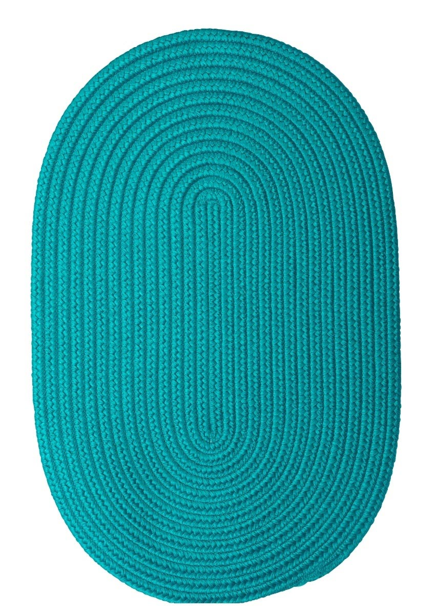 Boca Raton Turquoise Outdoor Braided Oval Rugs