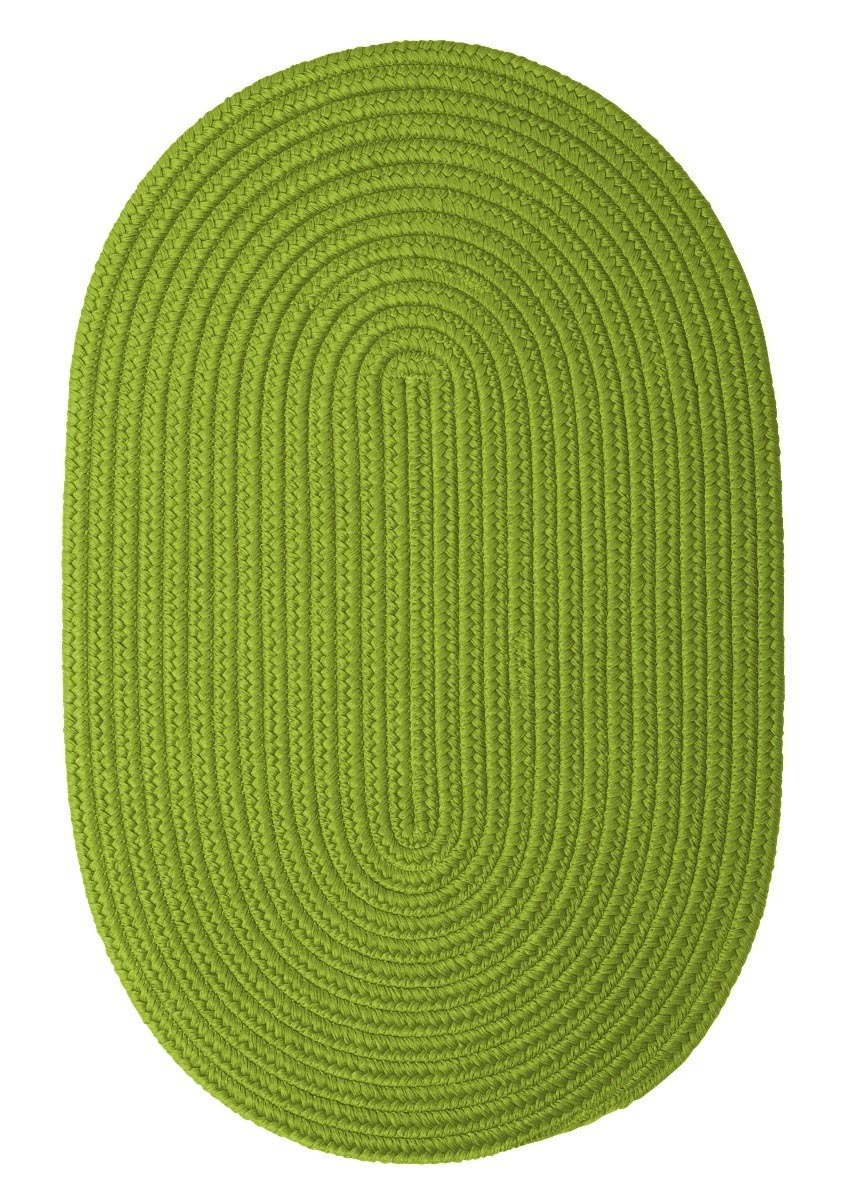 Boca Raton Bright Green Outdoor Braided Oval Rugs