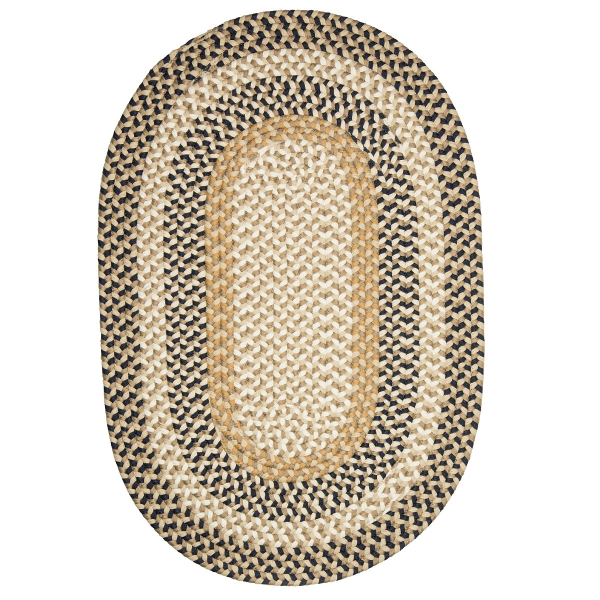Burmingham Blue Crest Outdoor Braided Oval Rugs