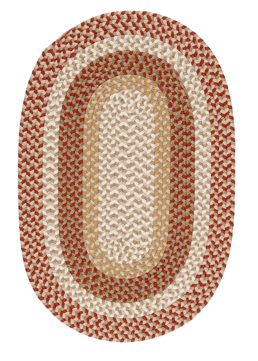 Burmingham Red Barron Outdoor Braided Oval Rugs