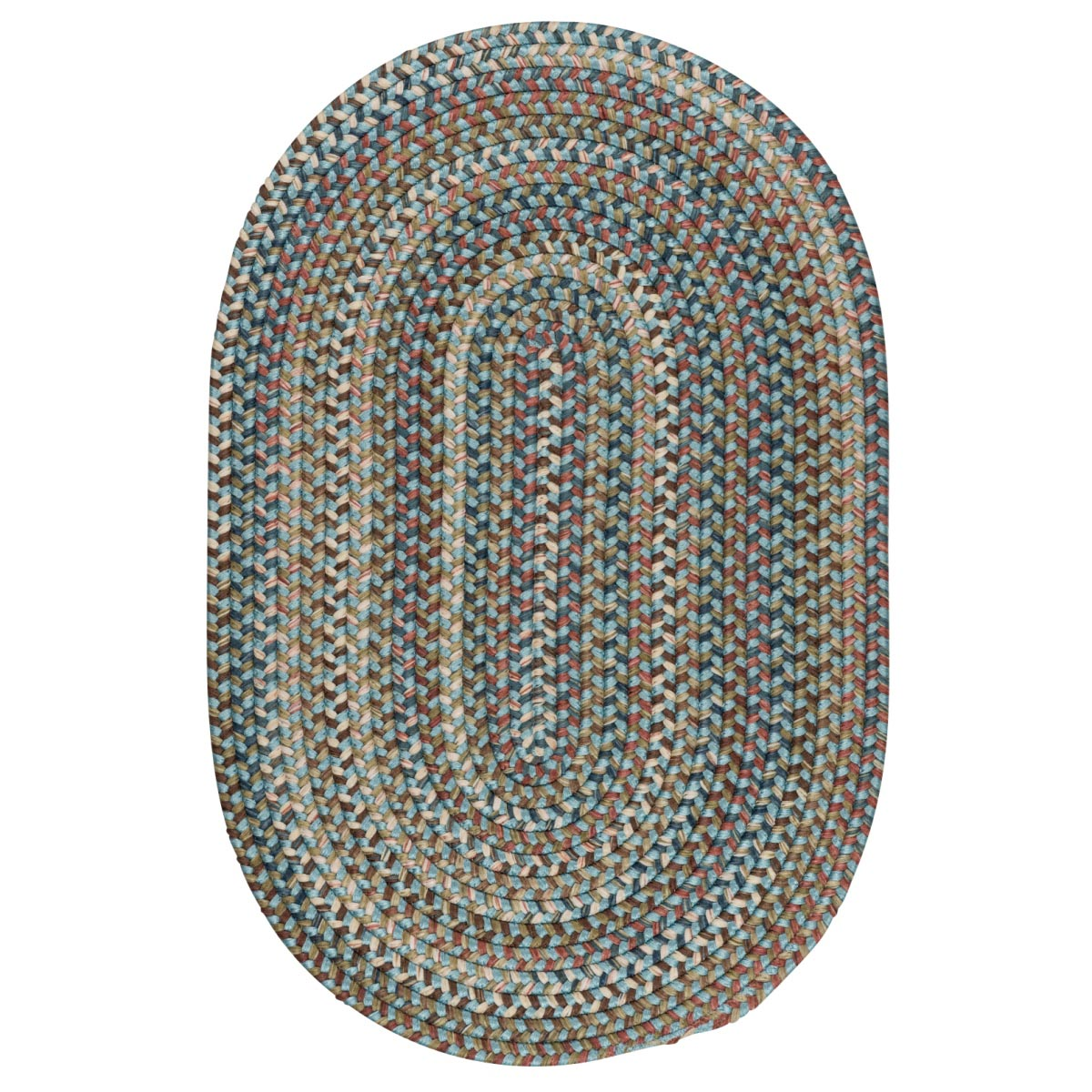 Cedar Cove Light Blue Outdoor Braided Oval Rugs