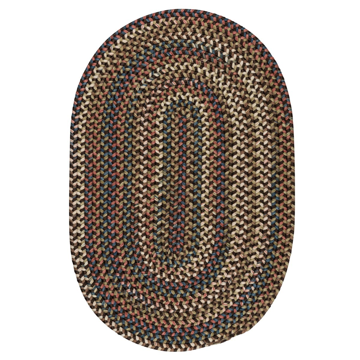 Cedar Cove Dark Brown Outdoor Braided Oval Rugs