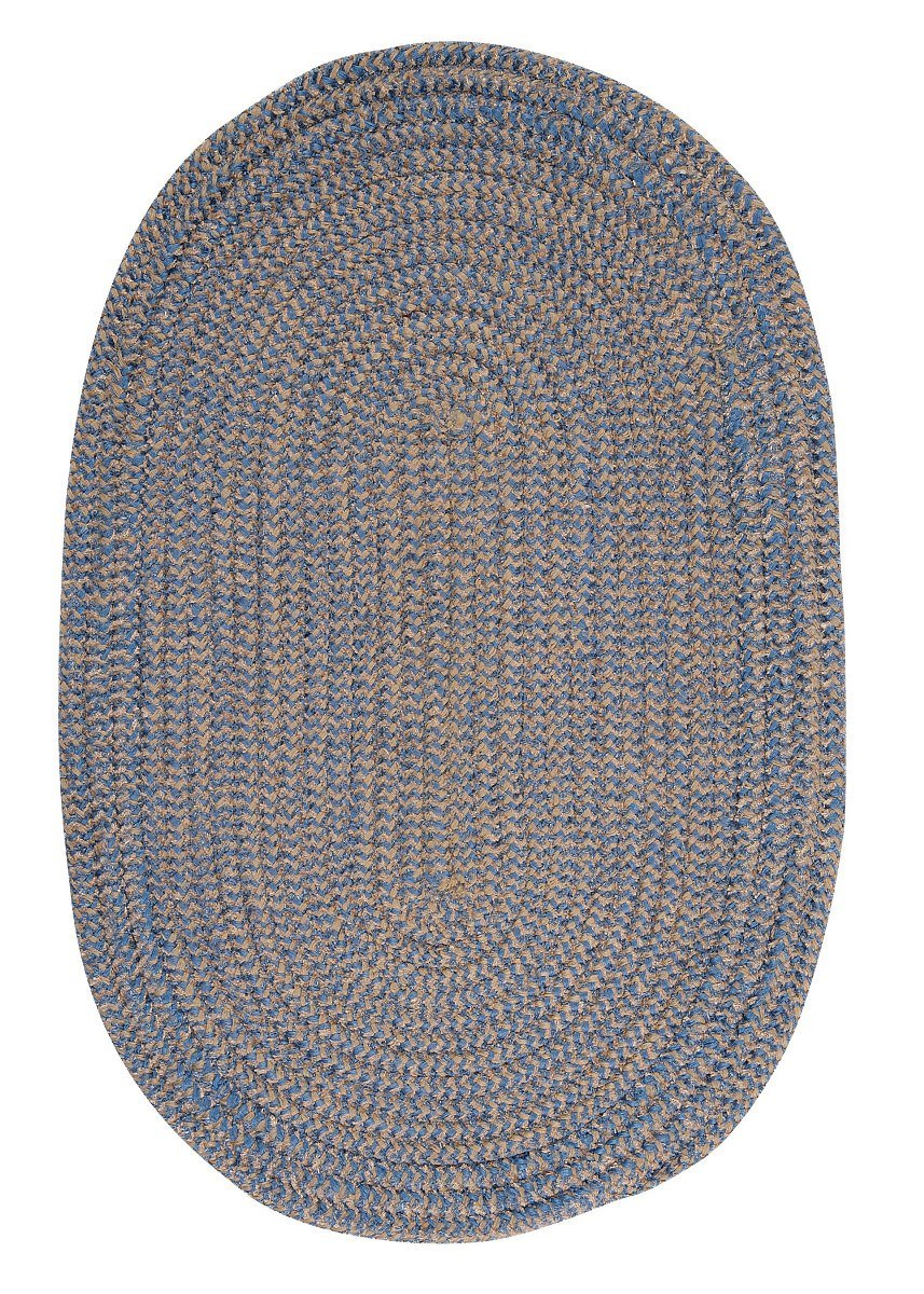 Softex Check Blue Ice Check Outdoor Braided Oval Rugs