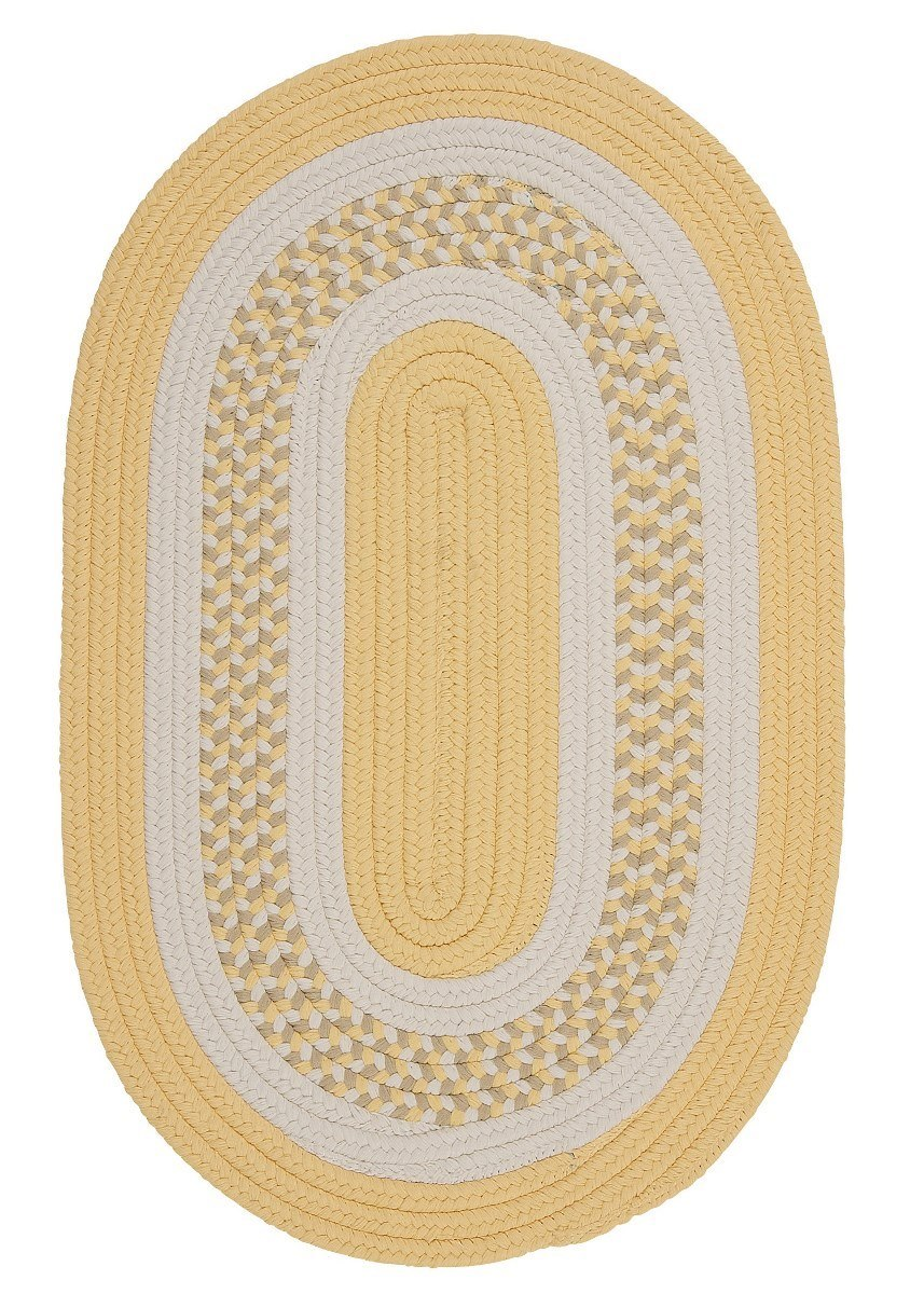 Flowers Bay Yellow Outdoor Braided Oval Rugs