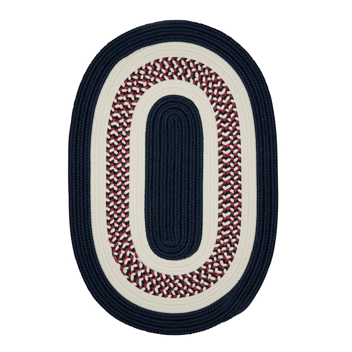 Flowers Bay Patriot Blue Outdoor Braided Oval Rugs
