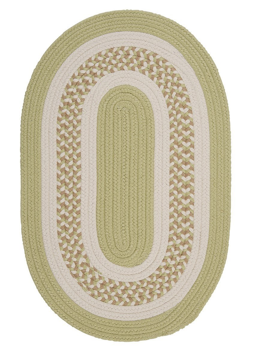 Flowers Bay Light Green Outdoor Braided Oval Rugs