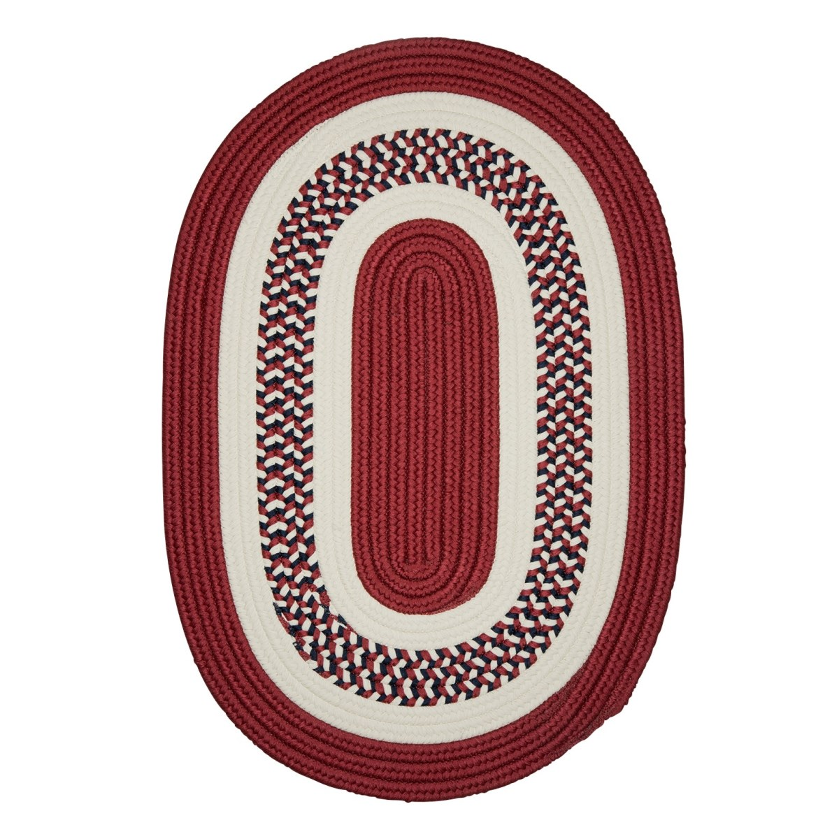 Flowers Bay Patriot Red Outdoor Braided Oval Rugs