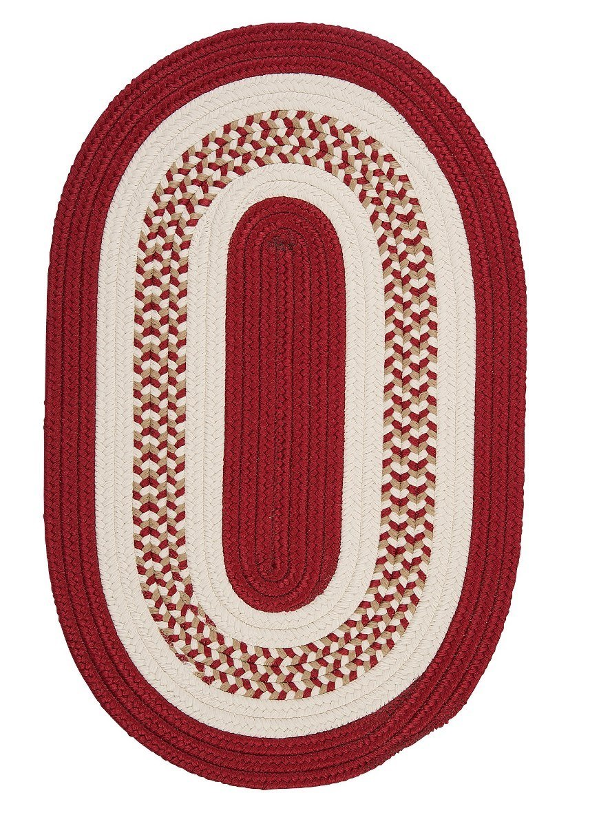 Flowers Bay Red Outdoor Braided Oval Rugs