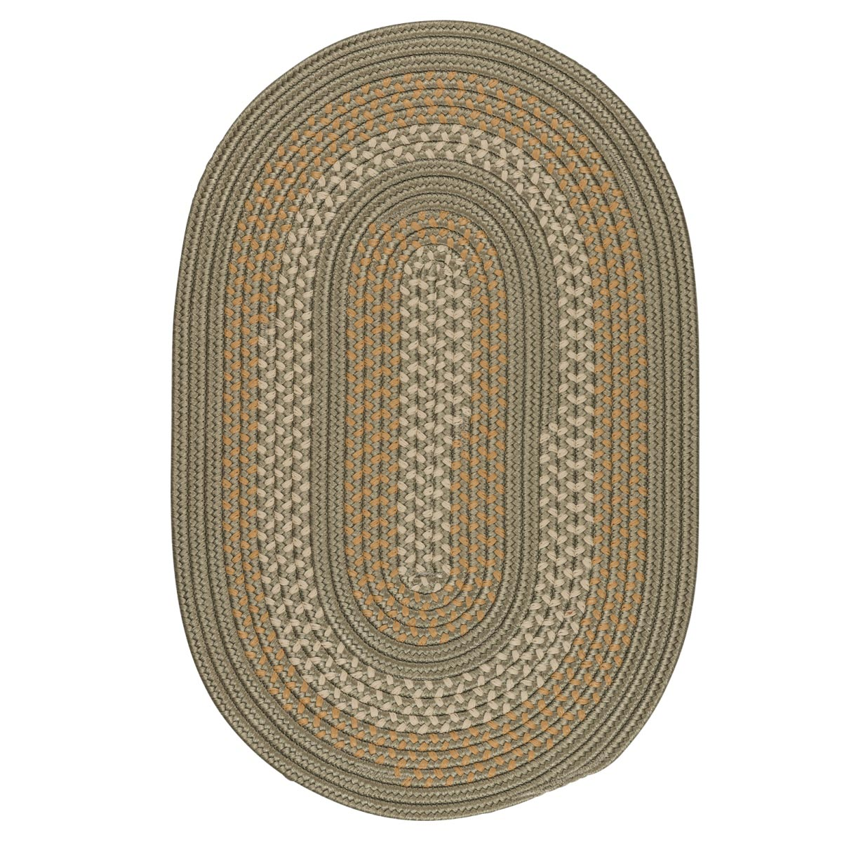 Georgetown Olive Outdoor Braided Oval Rugs