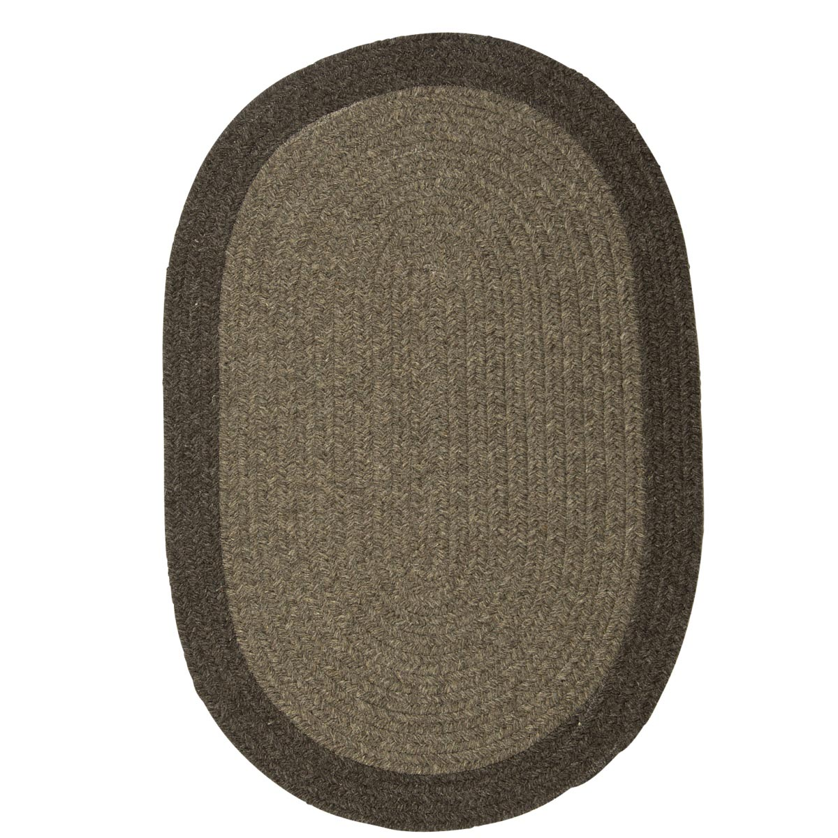 Hudson Brown Wool Braided Oval Rugs