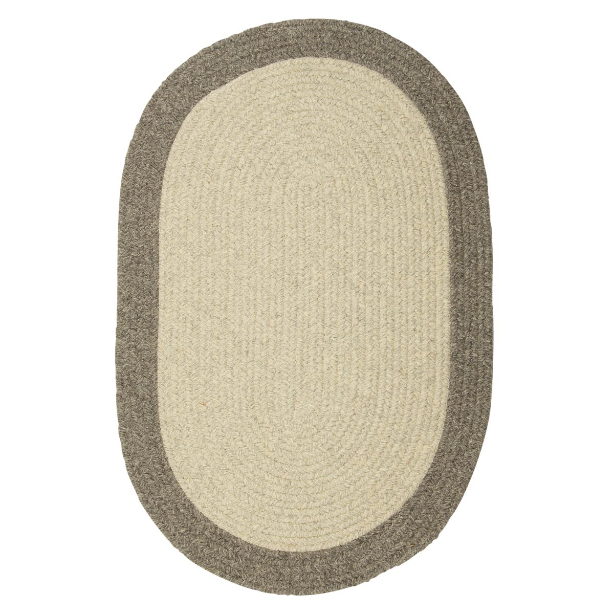 Hudson Light Gray Wool Braided Oval Rugs