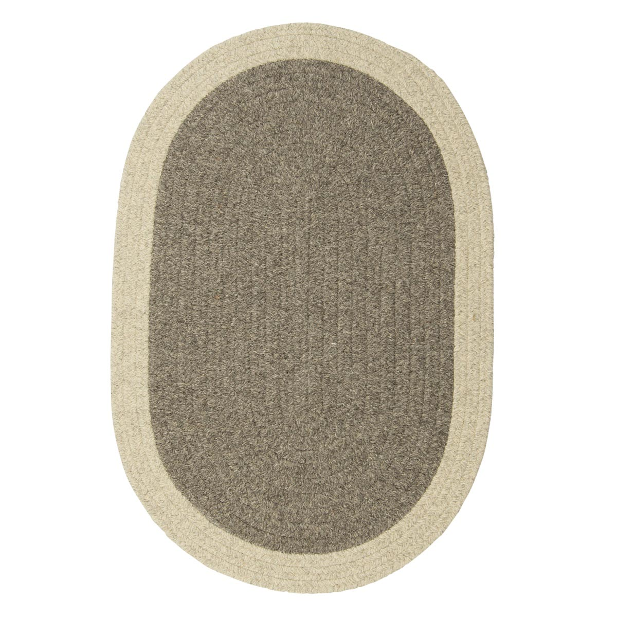 Hudson Dark Gray Wool Braided Oval Rugs