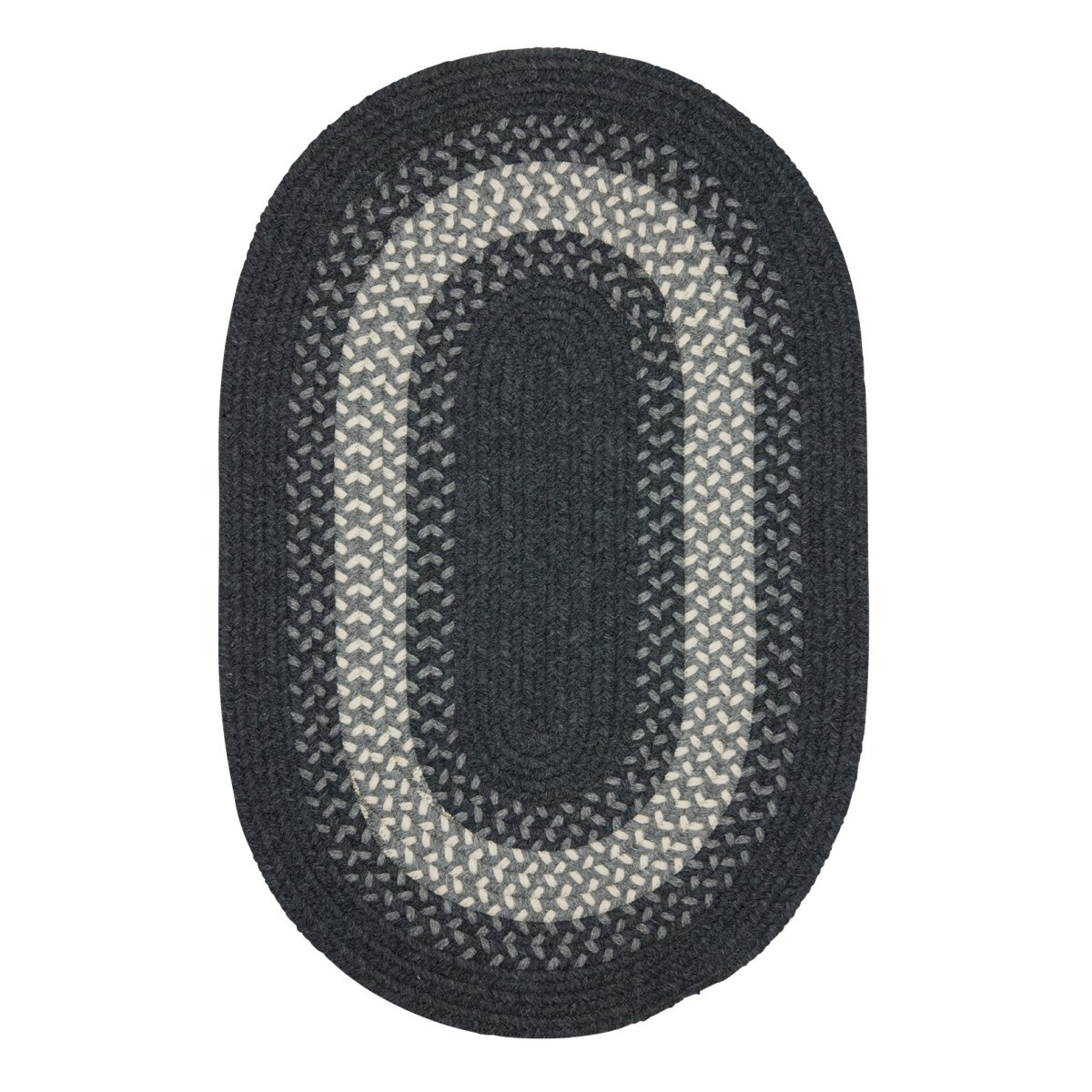 North Ridge Charcoal Outdoor Braided Oval Rugs