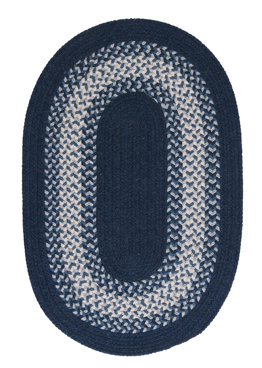 North Ridge Navy Outdoor Braided Oval Rugs