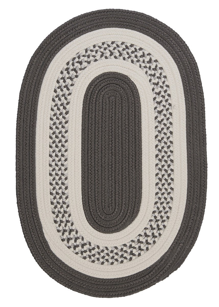 Crescent Gray Outdoor Braided Oval Rugs