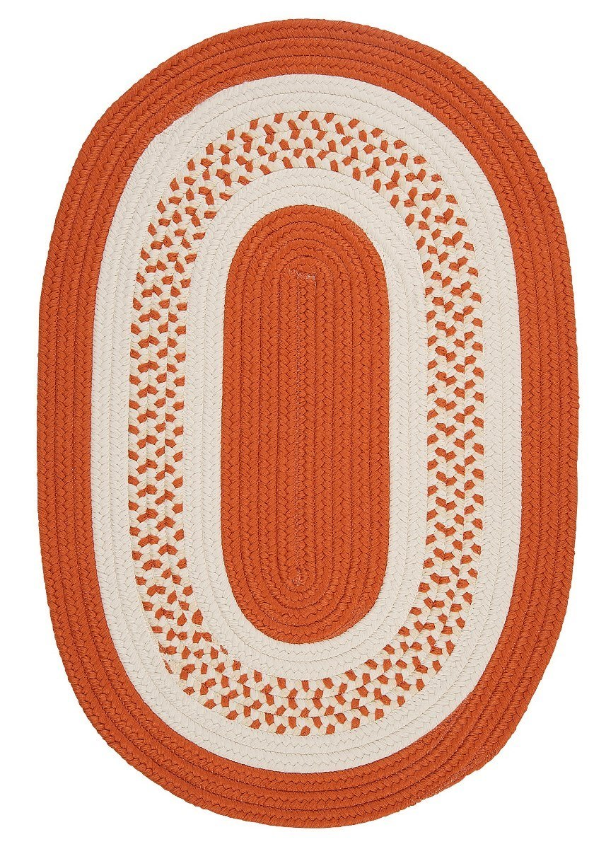 Crescent Orange Outdoor Braided Oval Rugs