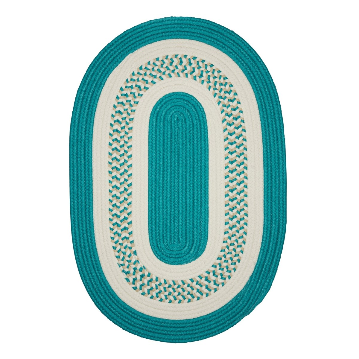 Crescent Teal Outdoor Braided Oval Rugs