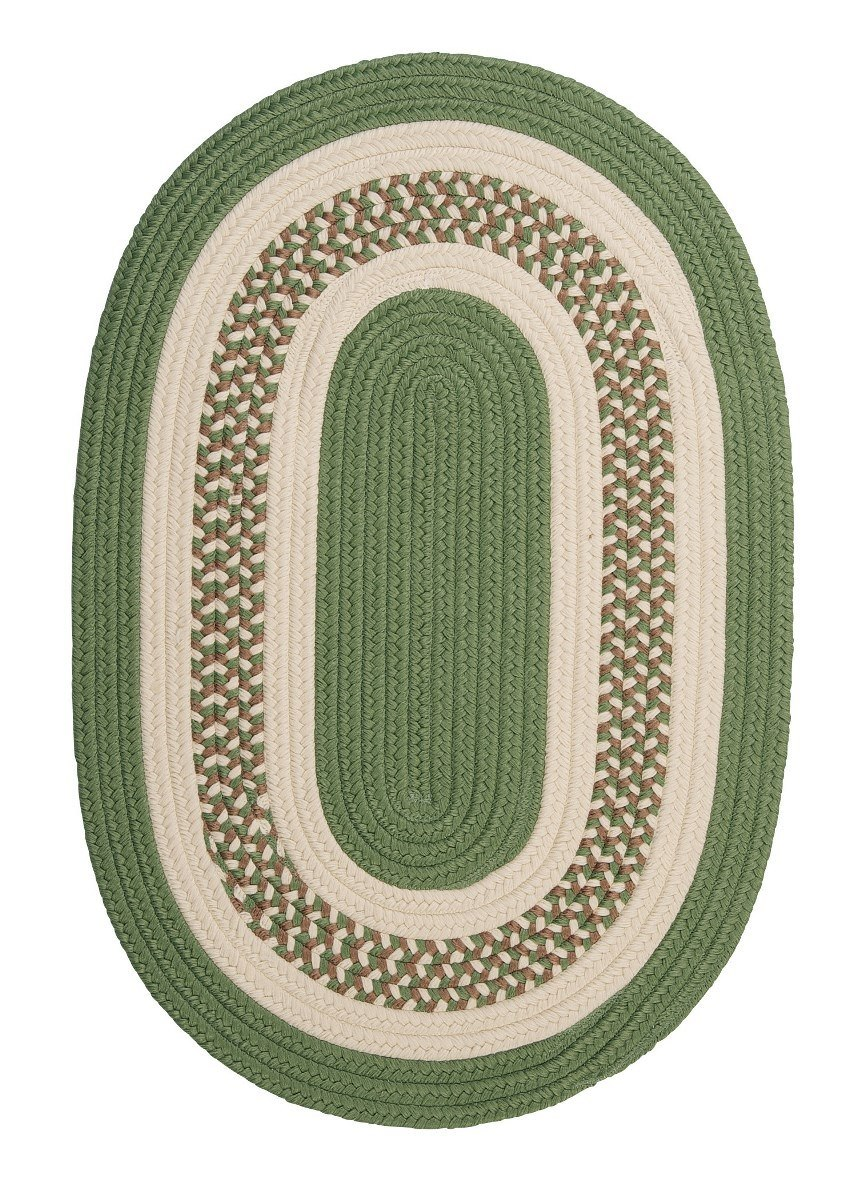 Crescent Moss Green Outdoor Braided Oval Rugs