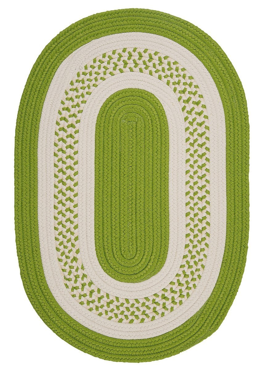 Crescent Bright Green Outdoor Braided Oval Rugs