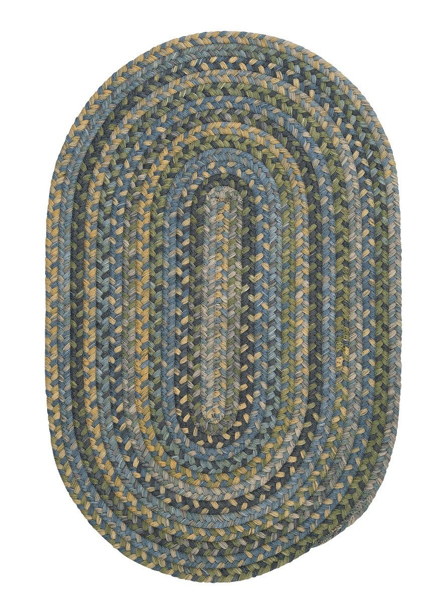 Rustica Whipple Blue Wool Braided Oval Rugs