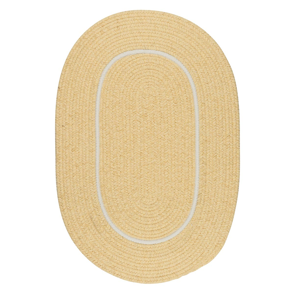 Silhouette Pale Banana Outdoor Braided Oval Rugs