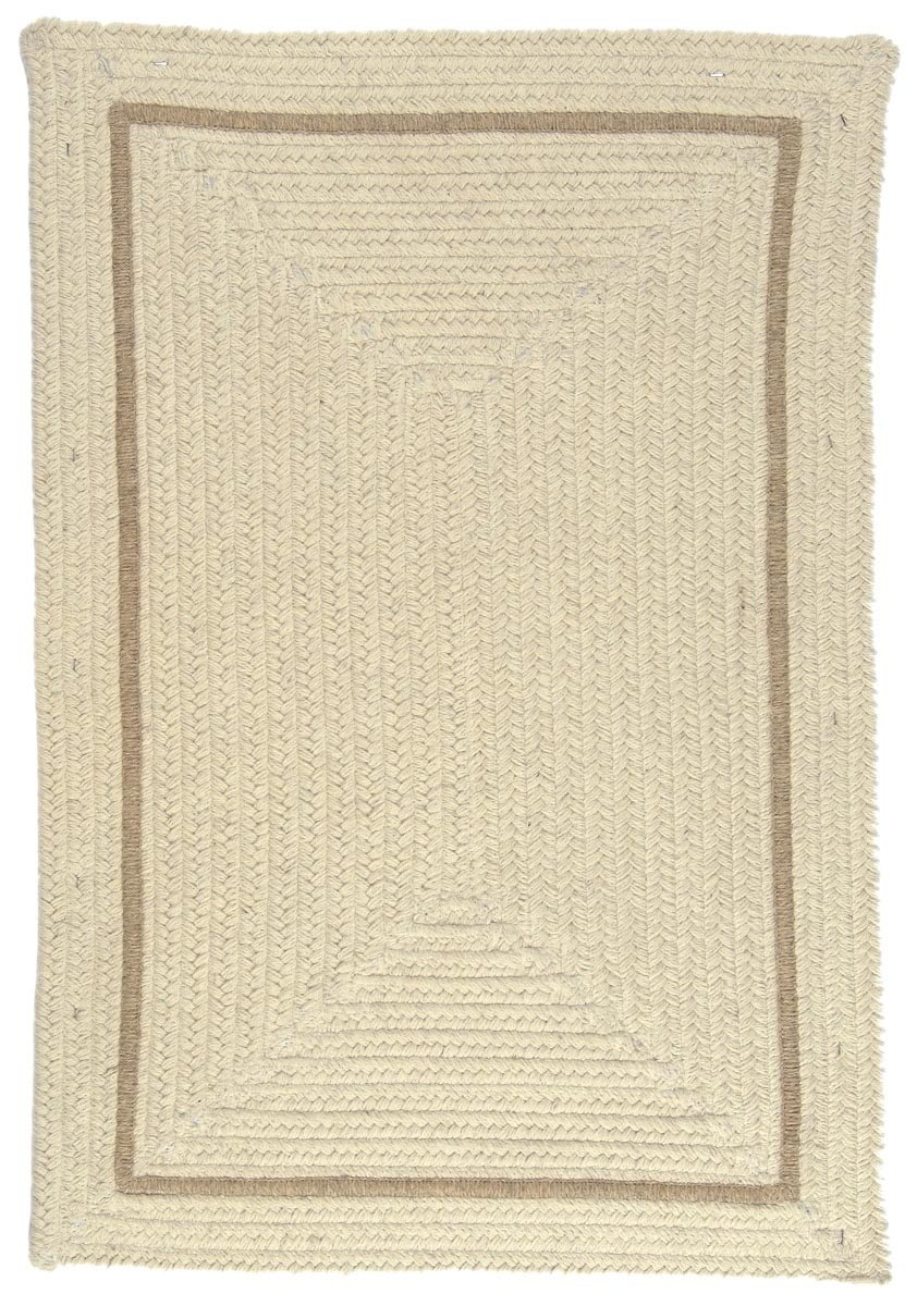 Shear Natural Canvas Wool Braided Rectangular Rugs