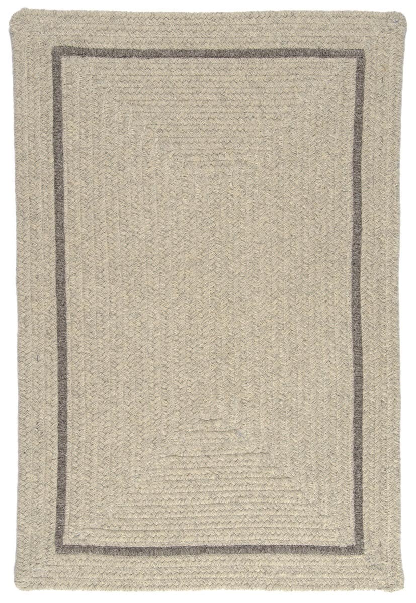 Shear Natural Cobblestone Wool Braided Rectangular Rugs