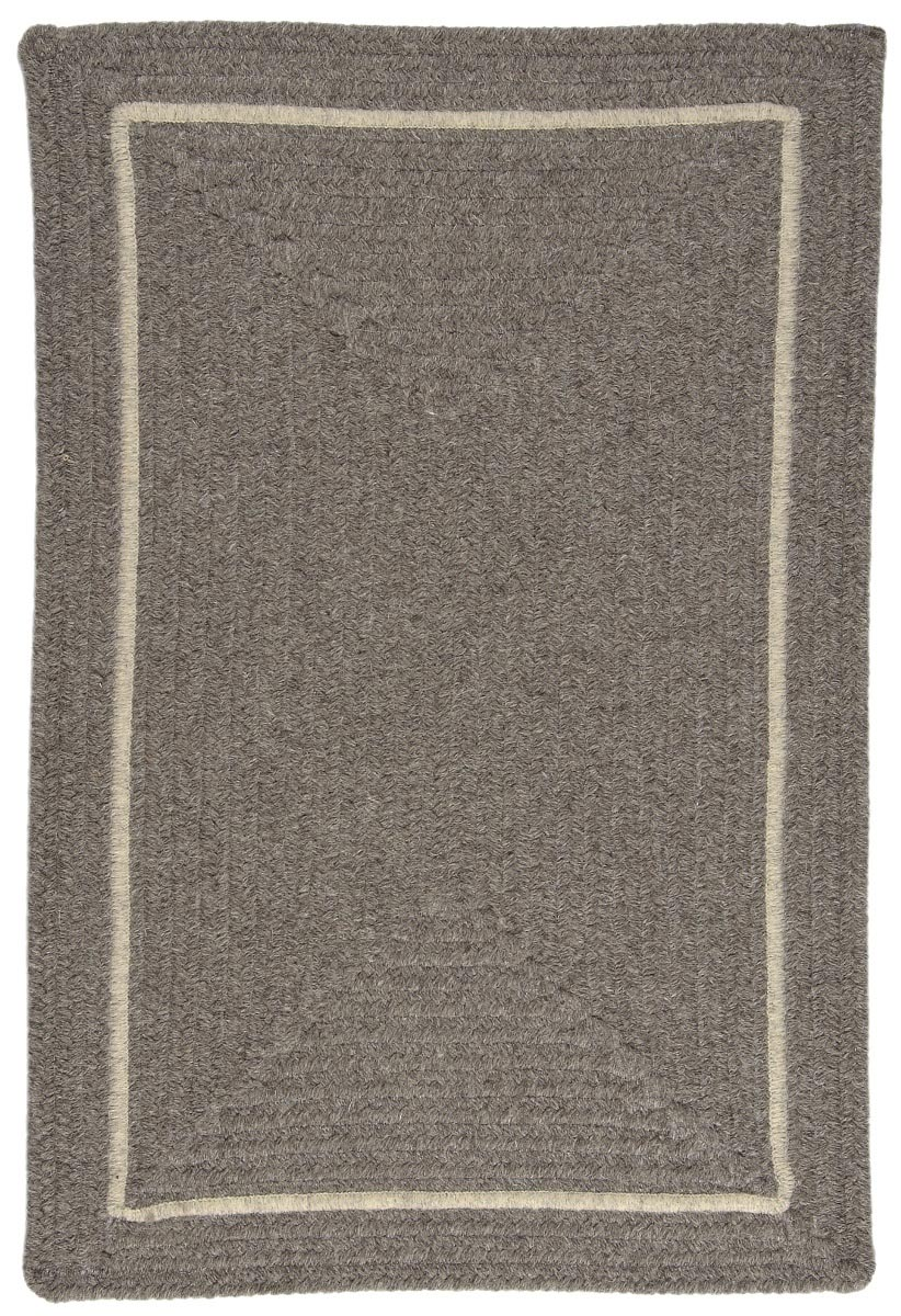 Shear Natural Rockport Gray Wool Braided Rectangular Rugs