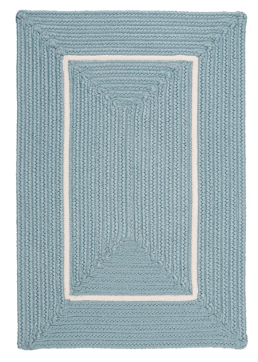 Doodle Edge Light Blue Outdoor Braided Rectangular Rugs