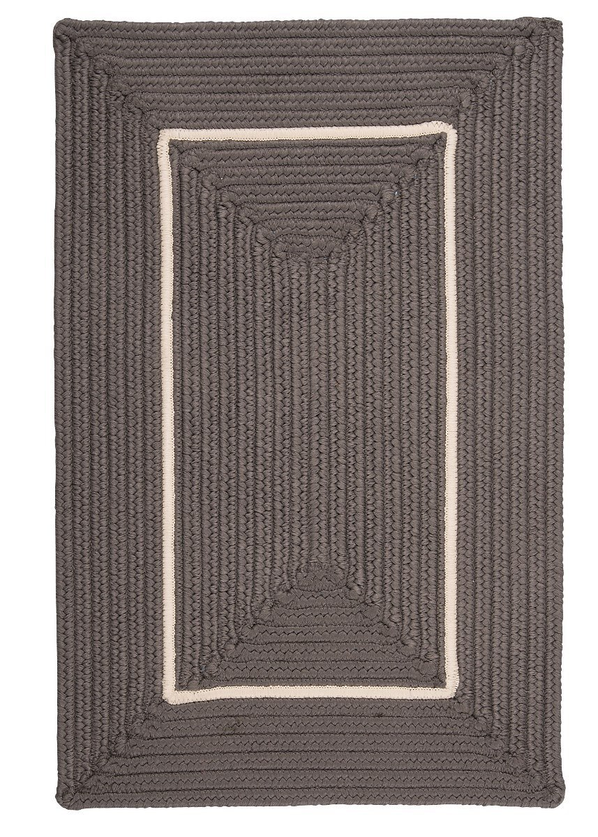Doodle Edge Gray Outdoor Braided Rectangular Rugs