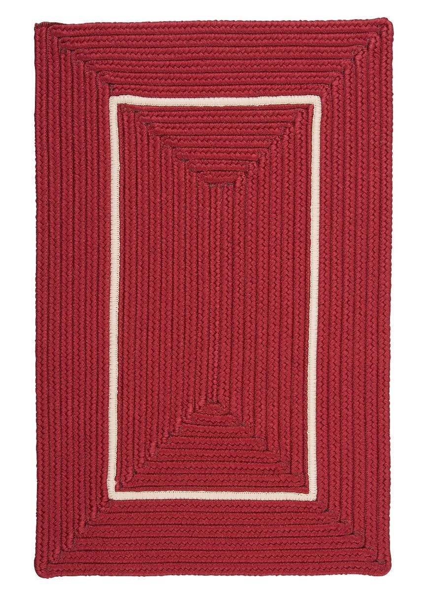 Doodle Edge Red Outdoor Braided Rectangular Rugs