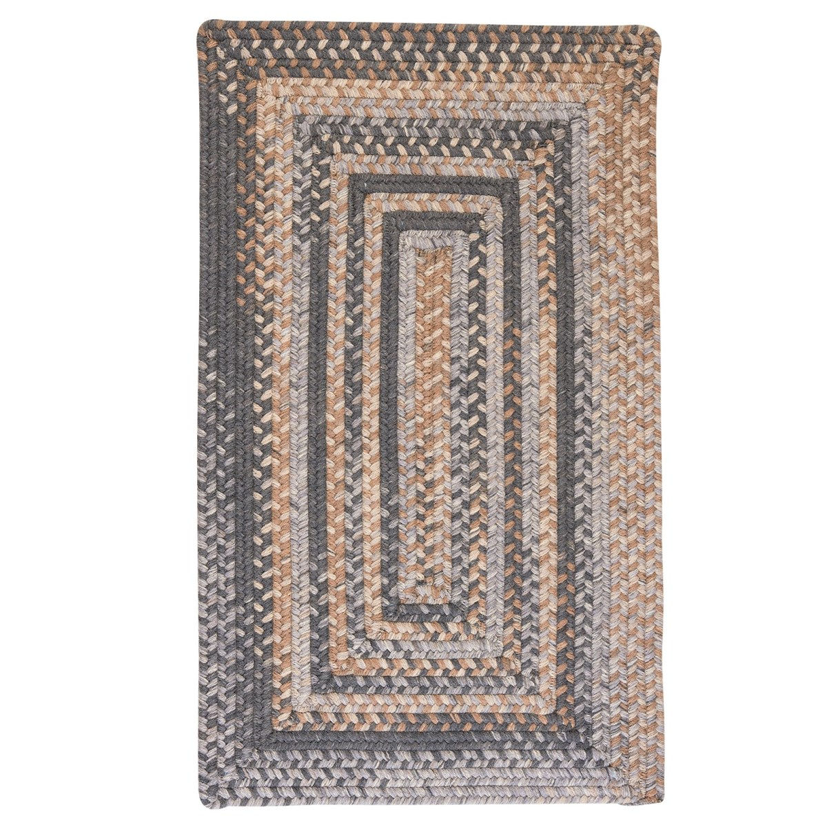 Gloucester Graphite Wool Braided Rectangular Rugs