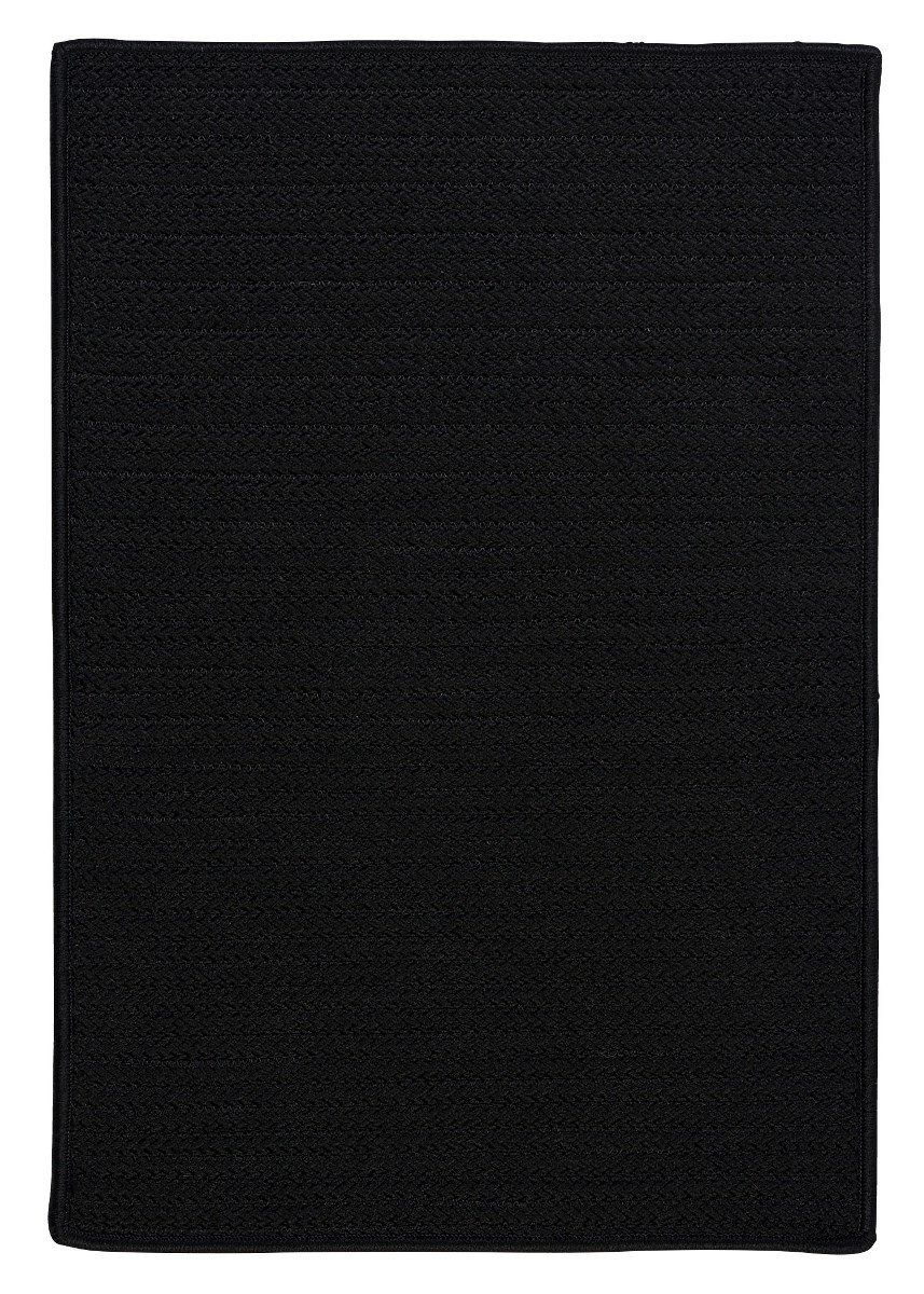Simply Home Solid Black Outdoor Braided Rectangular Rugs