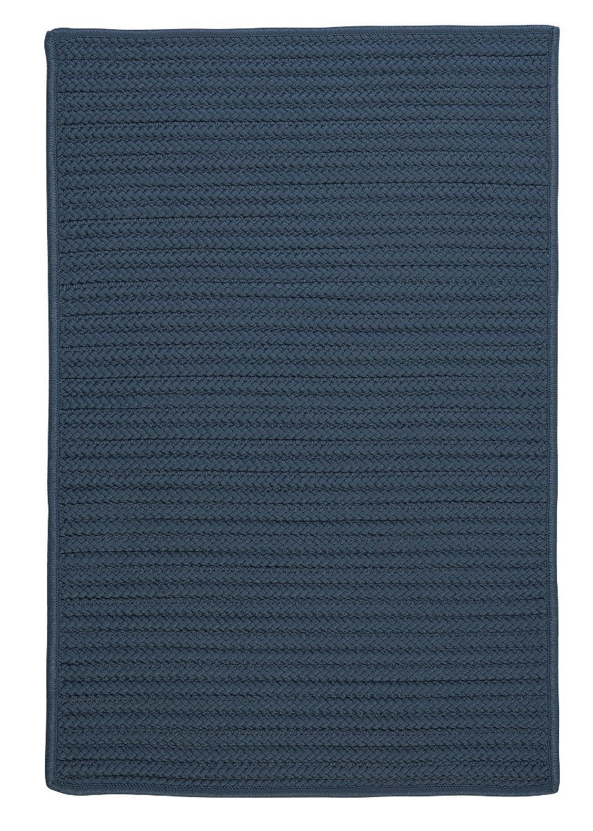 Simply Home Solid Lake Blue Outdoor Braided Rectangular Rugs