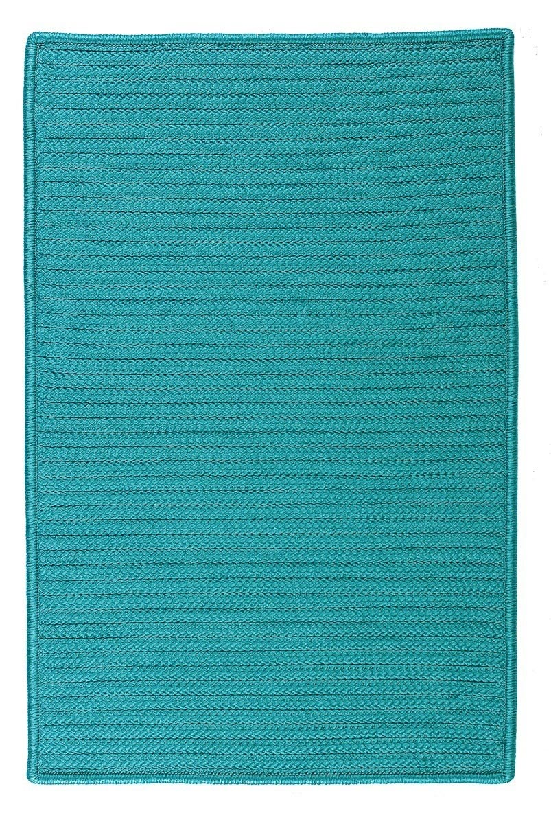 Simply Home Solid Turquoise Outdoor Braided Rectangular Rugs