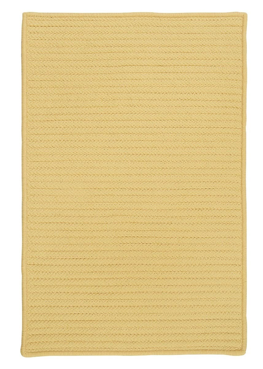 Simply Home Solid Pale Banana Outdoor Braided Rectangular Rugs