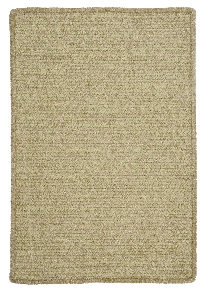 Simple Chenille Sprout Green Outdoor Braided Rectangular Rugs