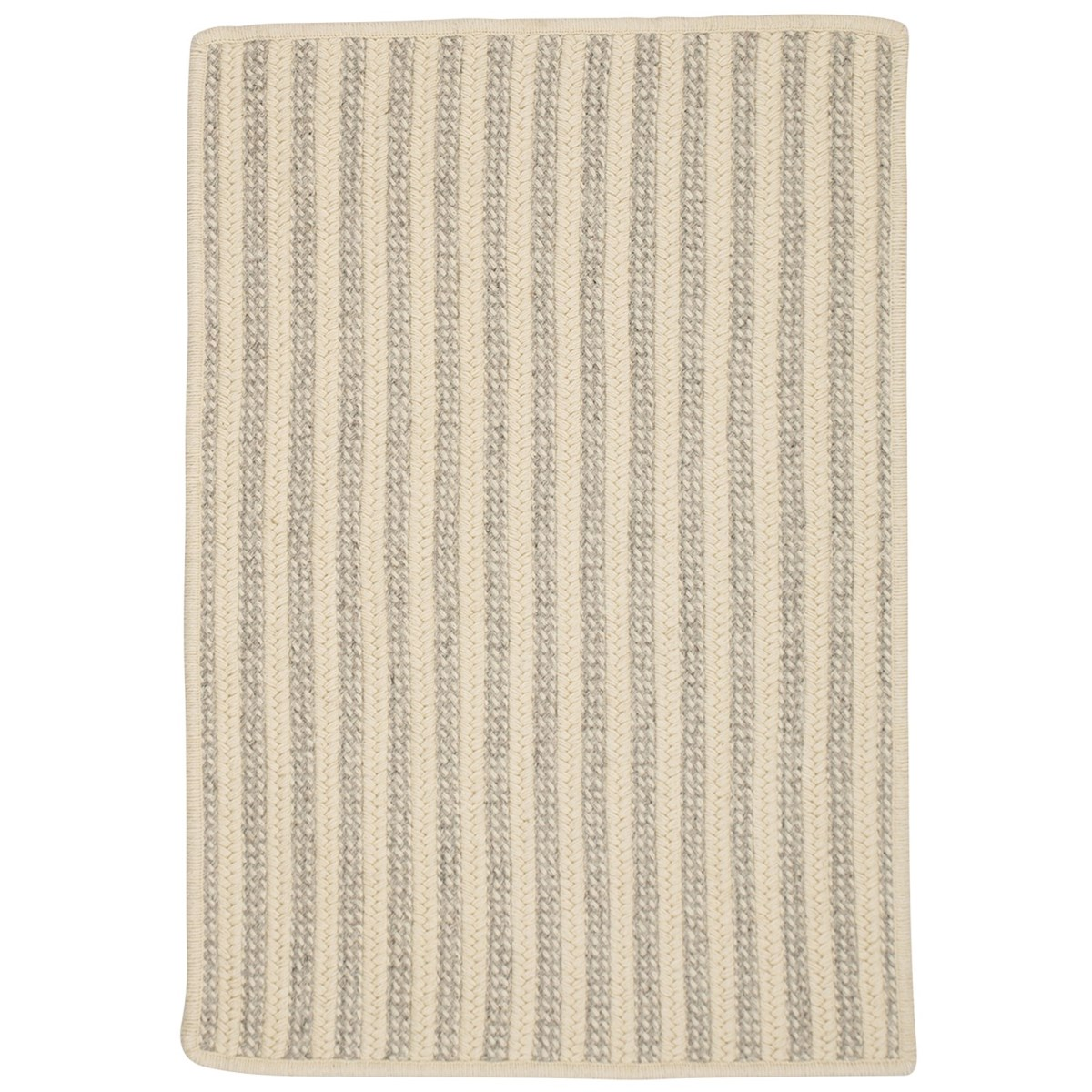 Woodland Light Gray Wool Braided Rectangular Rugs