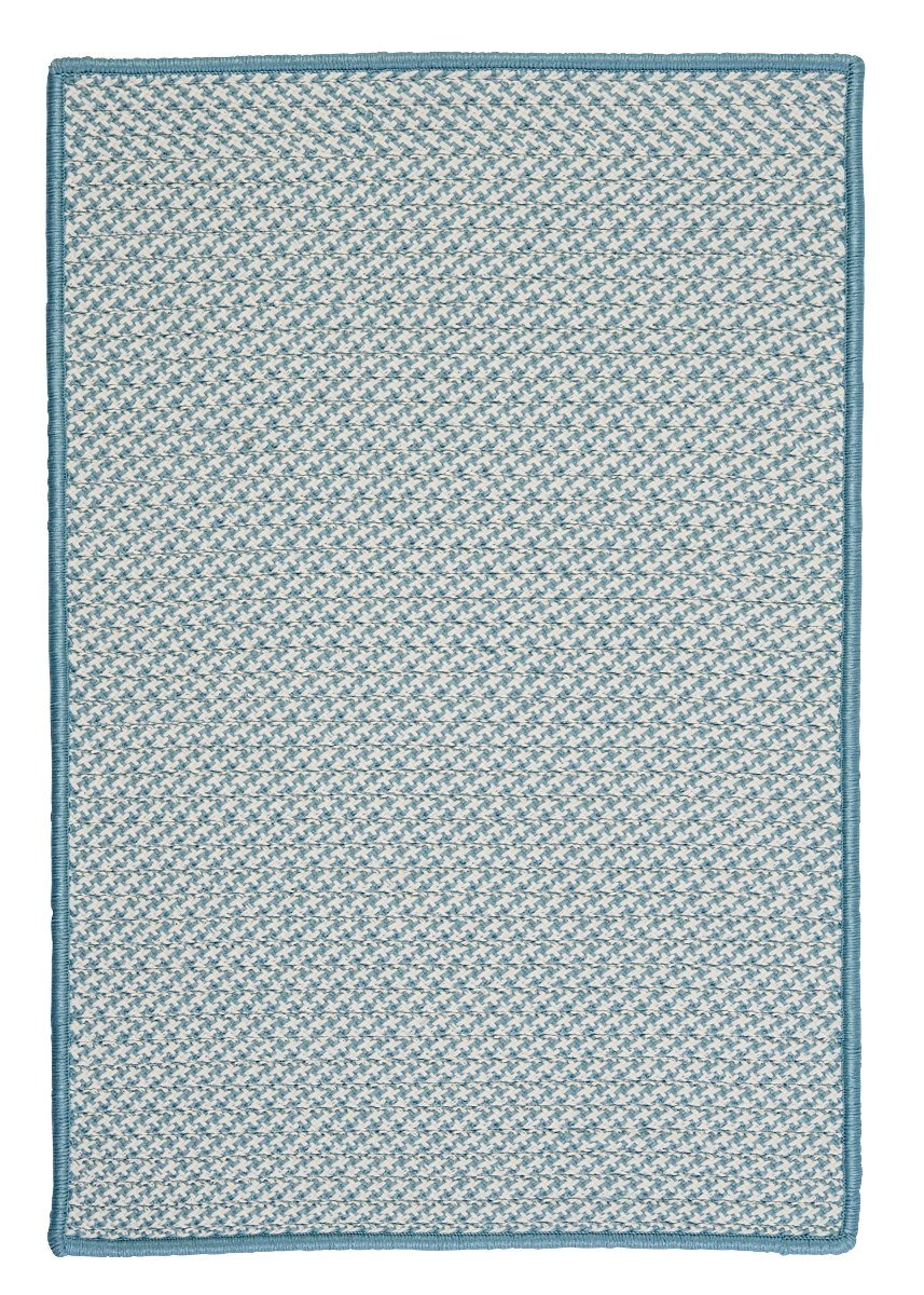 Outdoor Houndstooth Tweed Sea Blue Outdoor Braided Rectangular Rugs
