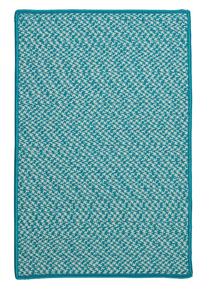 Outdoor Houndstooth Tweed Turquoise Outdoor Braided Rectangular Rugs
