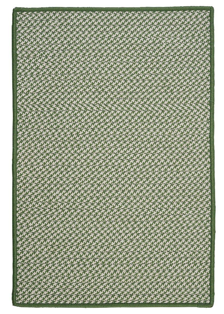 Outdoor Houndstooth Tweed Leaf Green Outdoor Braided Rectangular Rugs
