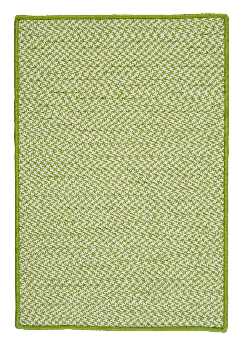 Outdoor Houndstooth Tweed Lime Outdoor Braided Rectangular Rugs
