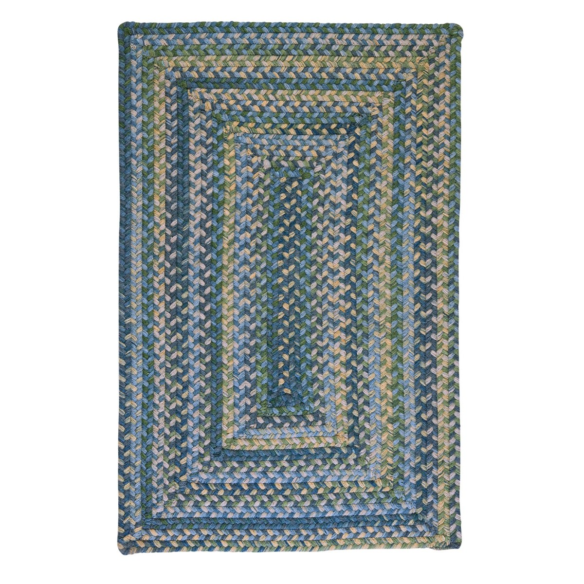 Ridgevale Whipple Blue Wool Braided Rectangular Rugs