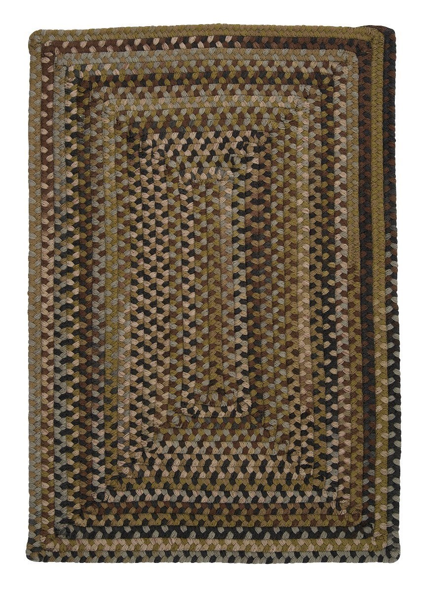 Ridgevale Grecian Green Wool Braided Rectangular Rugs