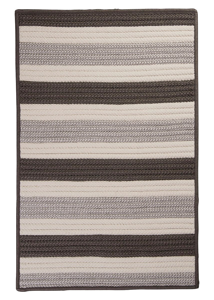 Stripe It Silver Outdoor Braided Rectangular Rugs